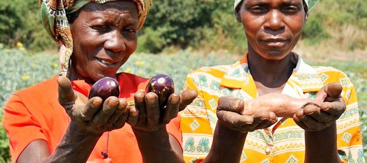 Women farmers showing food they grown